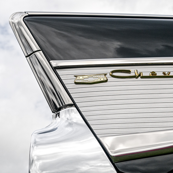 HR14 Tailfin Study III, 'Chev'. Colour abstract photograph of a 1957 Chevrolet Bel Air Convertable tail-fin by fine art photographer Paul Coghlin. Limited edition photographic prints.