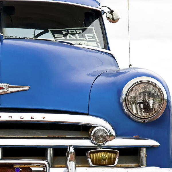 HR01 Blue Chevy I. Colour abstract photograph of a blue 1950 Chevrolet Bel Air by fine art photographer Paul Coghlin. Limited edition photographic prints.