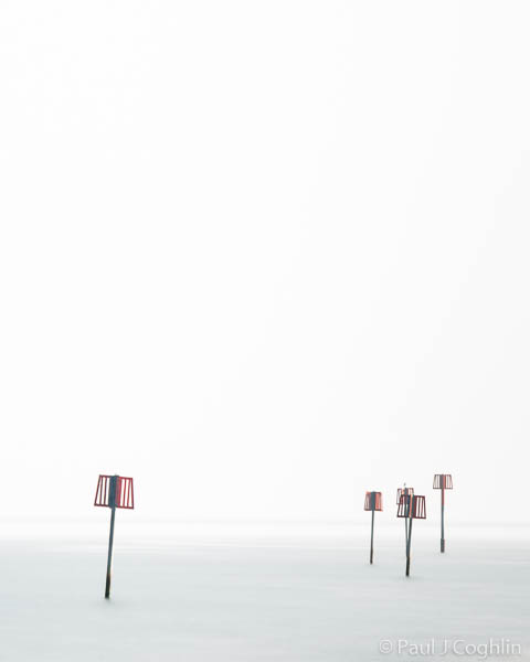 Markers off Aldeburgh Beach in Suffolk. Seascapes by fine art photographer Paul Coghlin.