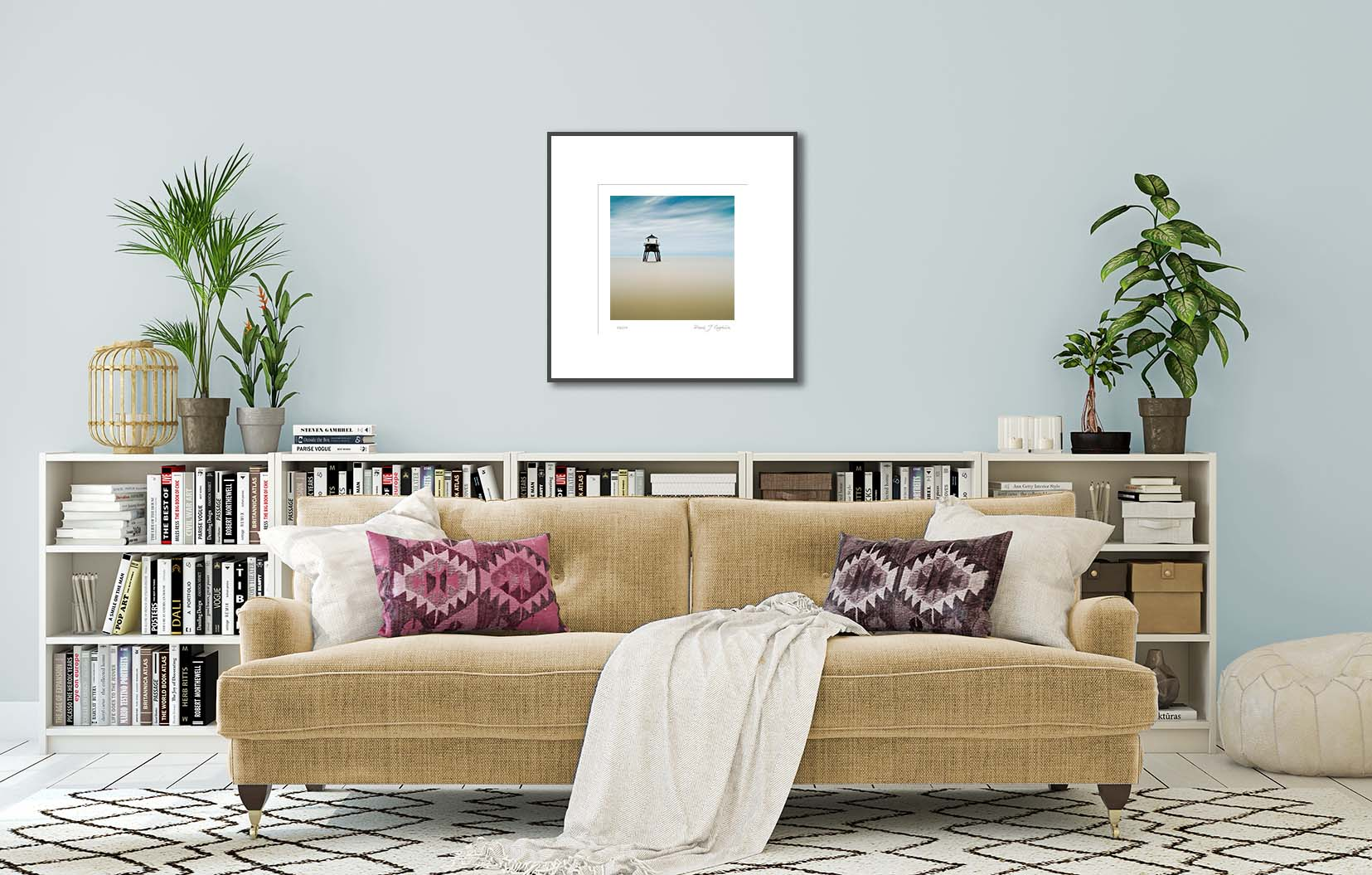 Victorian Lighthouse at sea. Limited edition photographic print of an old Victorian lighthouse by fine art photographer Paul Coghlin.