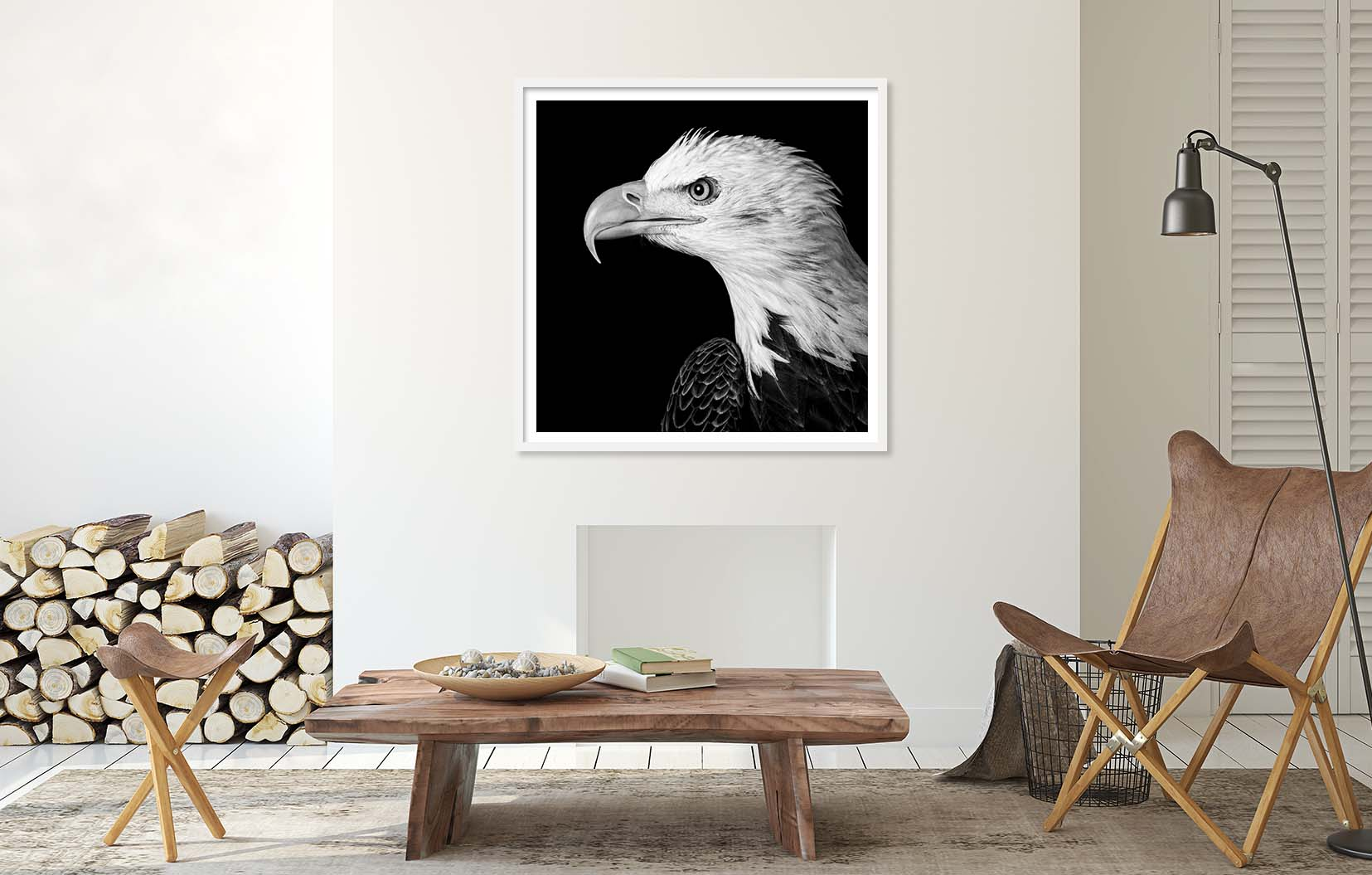Black and white portrait of a Bald Eagle ( Profile of a Bald Eagle ) whichi is one of the bird portraits in the Raptor series by fine art photographer Paul Coghlin.