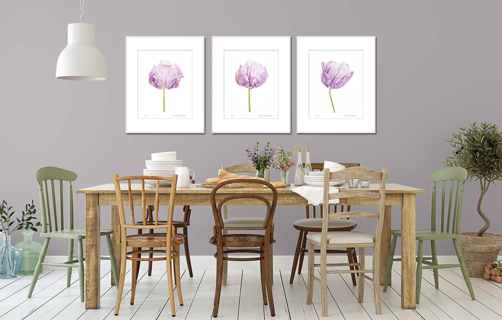 Three limited edition prints of blue parrot tulips by fine art photographer Paul Coghlin FBIPP.