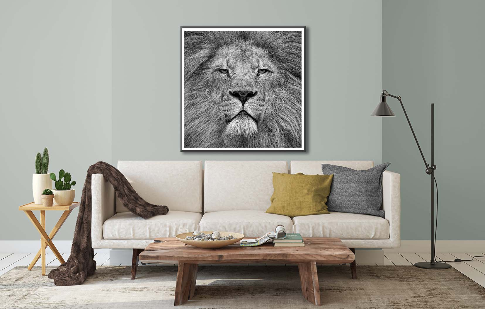 Fearless. This black and white print of a lion is a limited edition photographic print by fine art photographer Paul Coghlin FBIPP. It shows a fearless lion, looking straight into the camera.