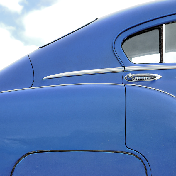 HR03 Blue Chevy III. Colour abstract photograph of a blue 1950 Chevrolet Bel Air by fine art photographer Paul Coghlin. Limited edition photographic prints.