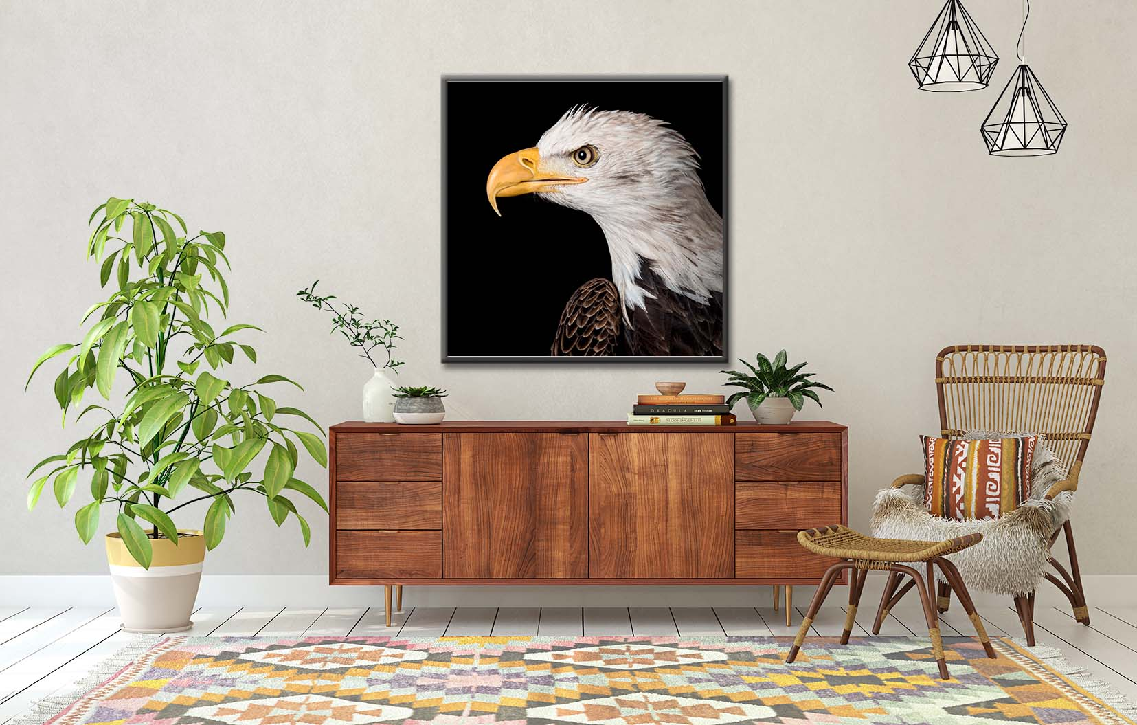 Colour photograph of a bald eagle in profile, framed and hanging on the wall. Limited edition fine art prints by award-winning photographer Paul Coghlin FBIPP.
