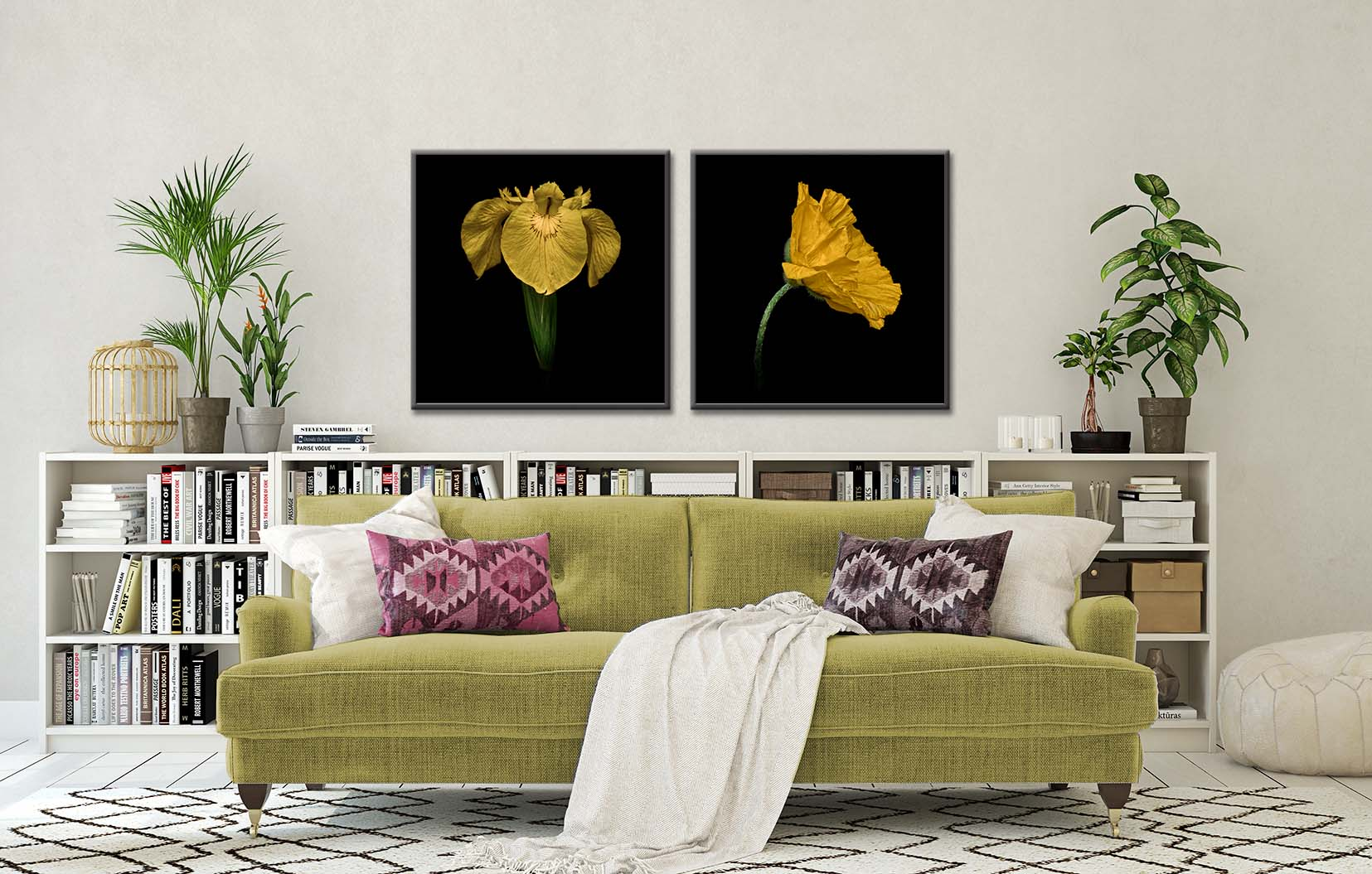 Colour photographic art prints of a yellow iris and yellow poppy on a black background. Fine art, limited edition floral prints by award-winning photographer Paul Coghlin FBIPP.