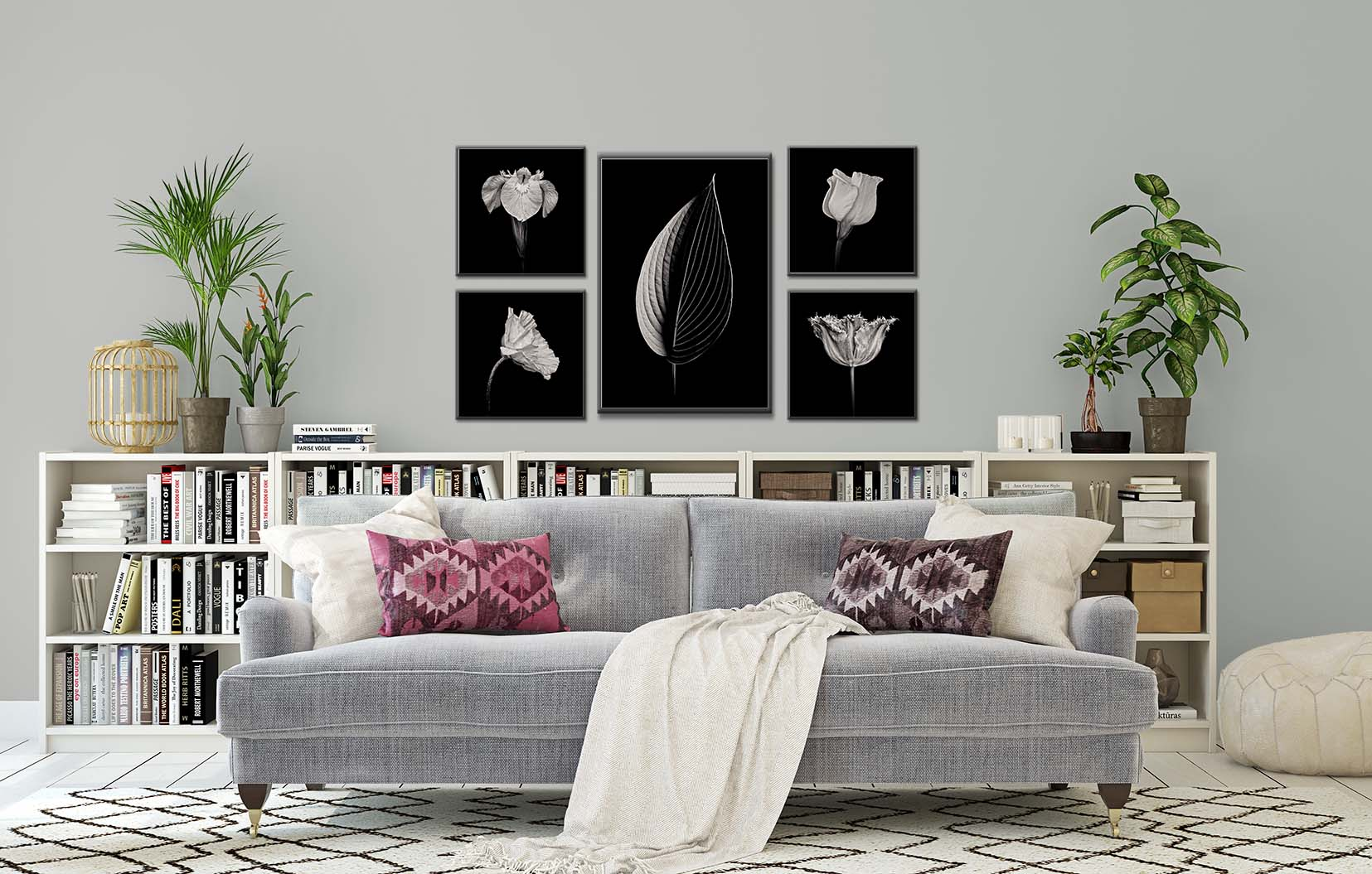 Black and white photographs of flowers and a hosta leaf shown framed and on the wall.