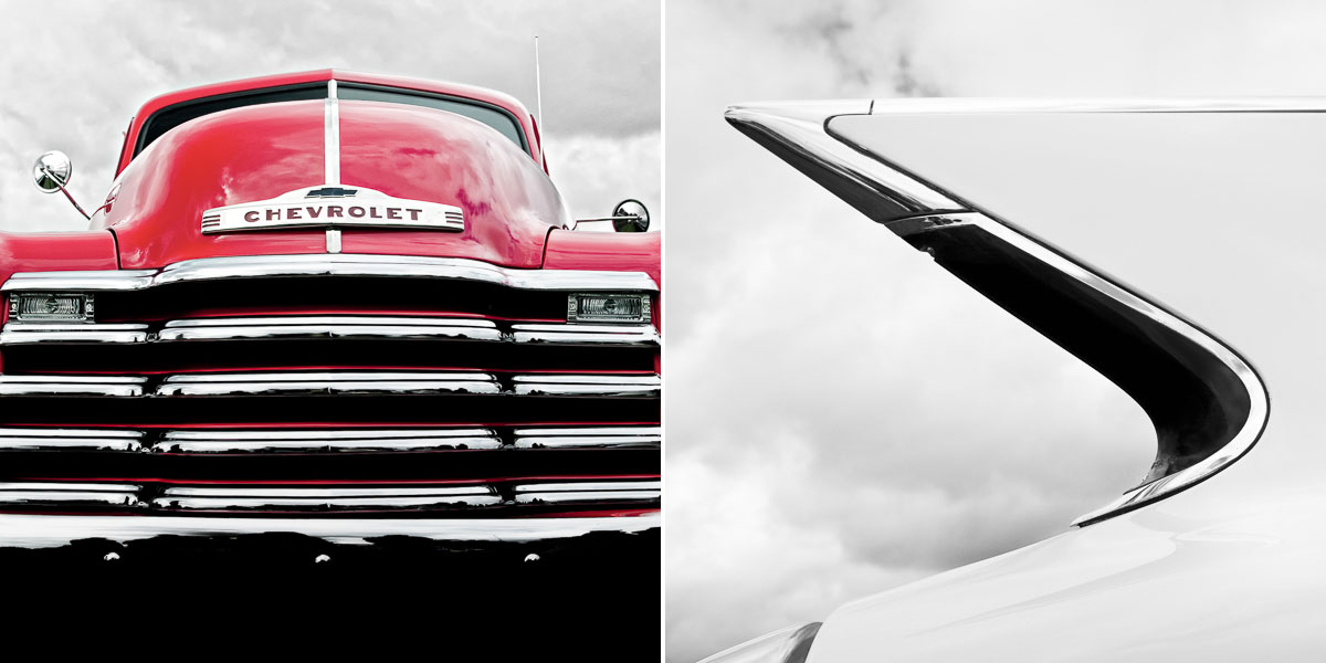 Limited edition fine art prints of vintage cars. A red chevy and a white tail fin of a chevrolet.