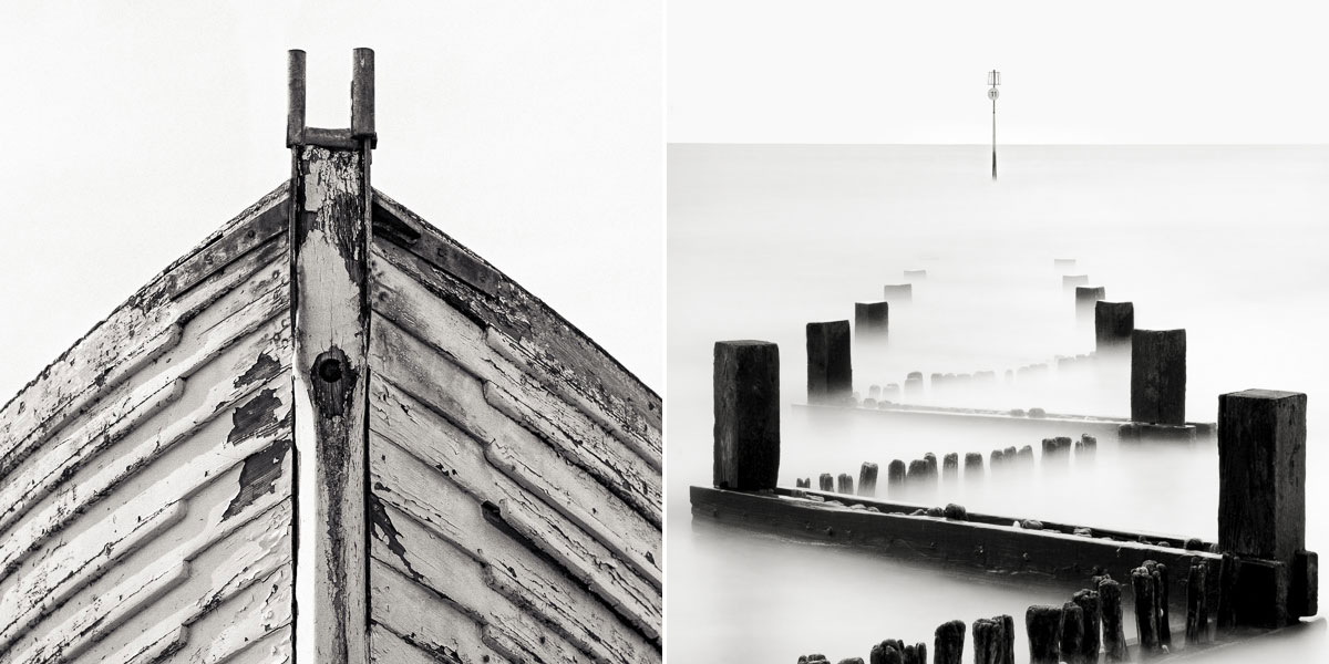Limited edition fine art black and white prints of a boat and a seascape by Paul Coghlin.