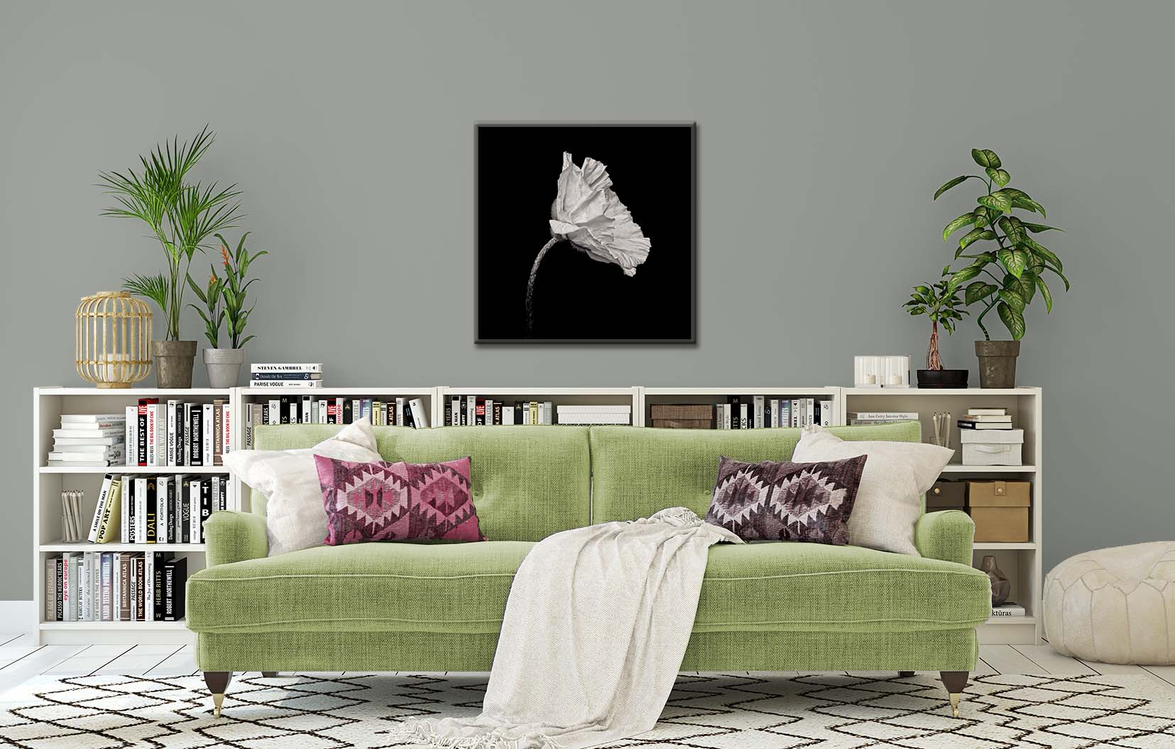 A limited edition black and white photographic print of a poppy shown framed and on the wall.