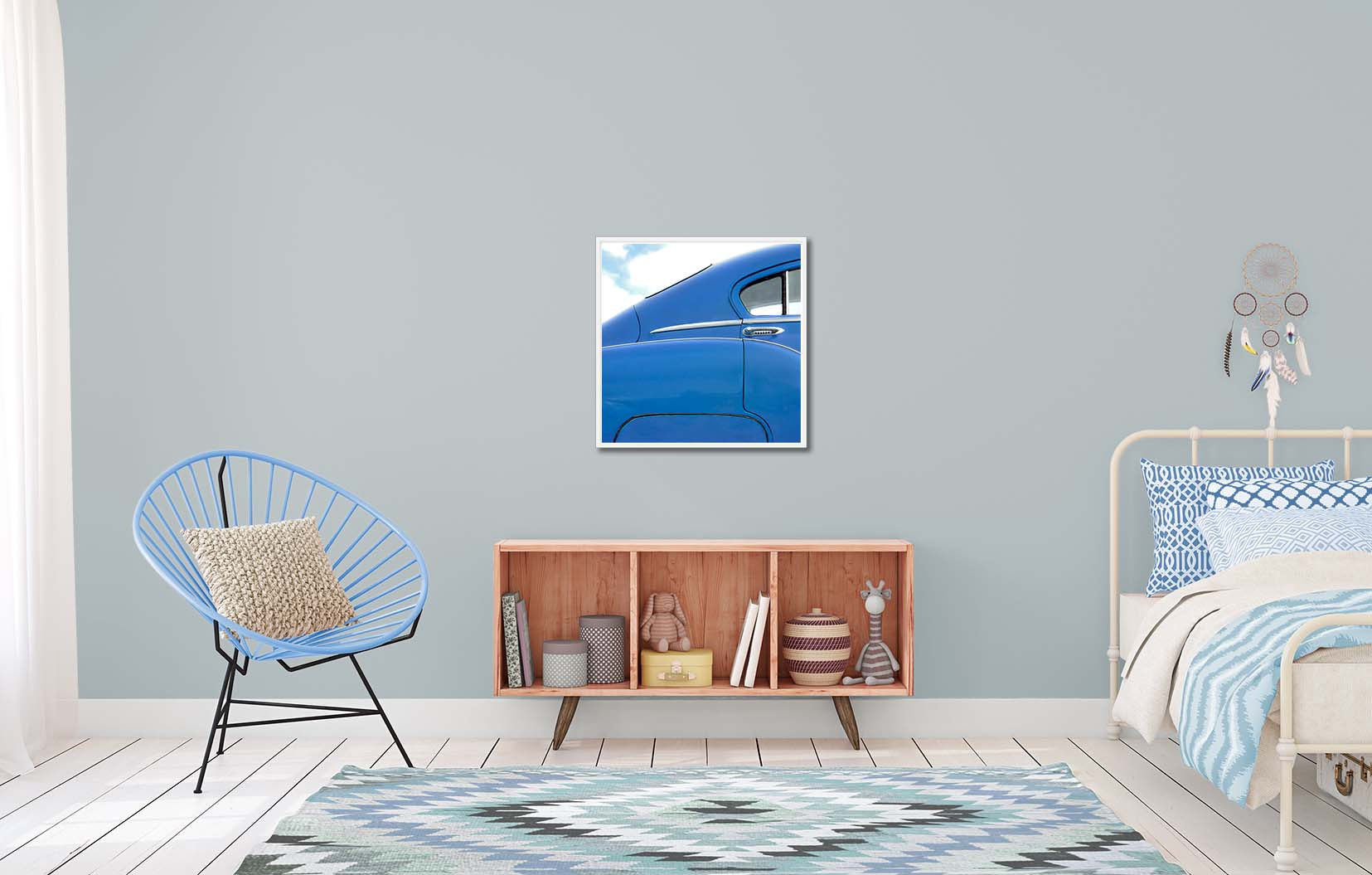 Art print of a blue Chevy from the side. Colour abstract photographic prints of a blue Chevy by fine art photographer Paul Coghlin. Limited edition photographic prints.