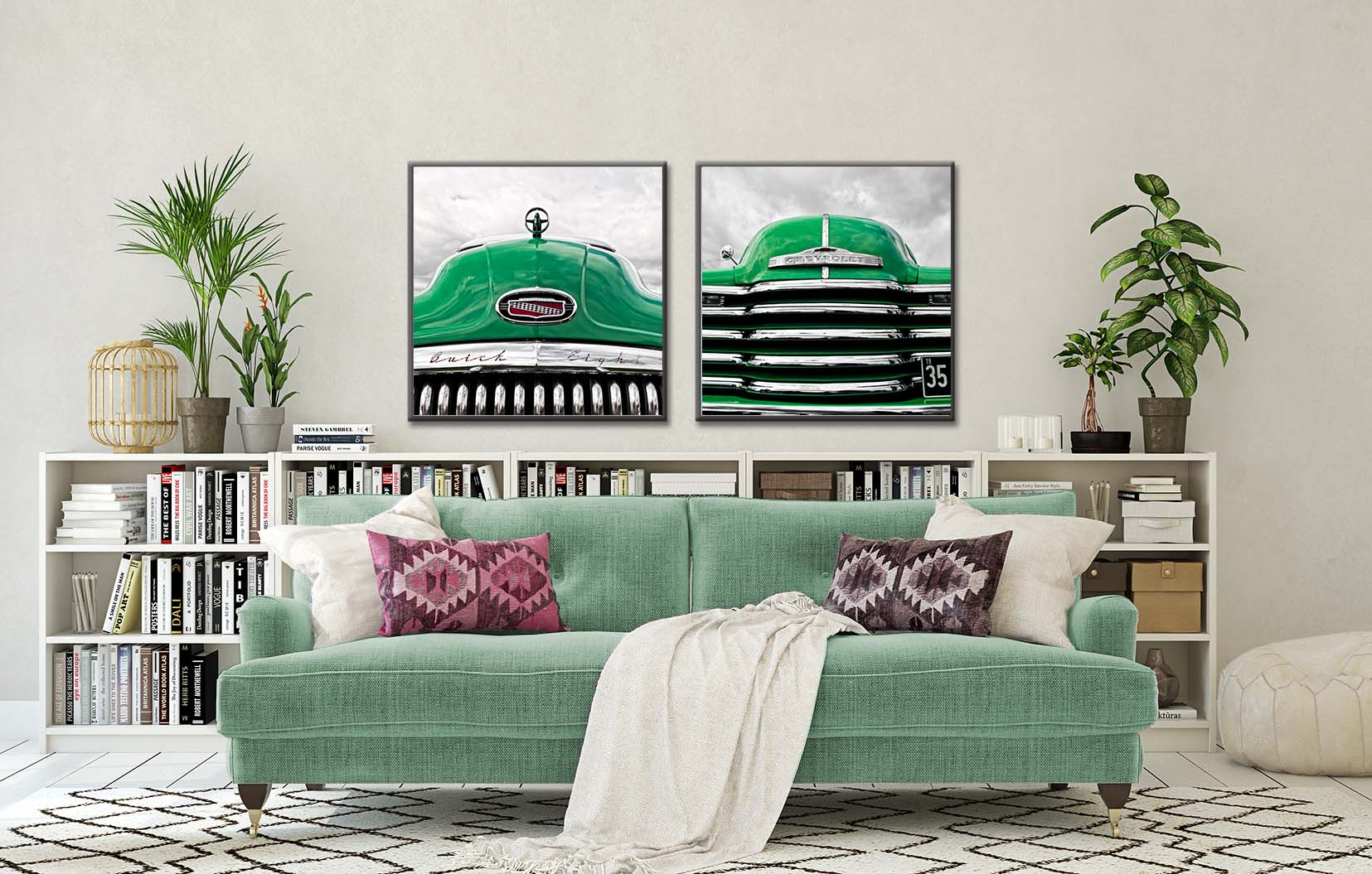 Green Buick print and a green Chevy print. Colour abstract photographic prints of vintage cars by fine art photographer Paul Coghlin. Limited edition photographic prints.