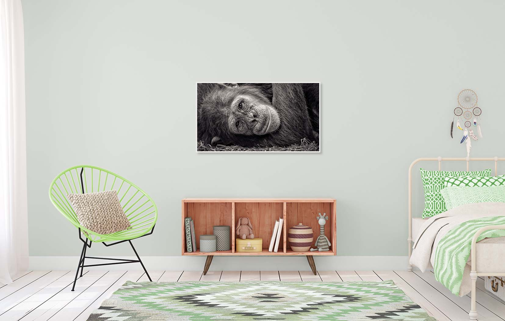 Black and white portrait of a chimp at rest, shown in a child's bedroom. Limited edition photographic print by fine art photographer Paul Coghlin.