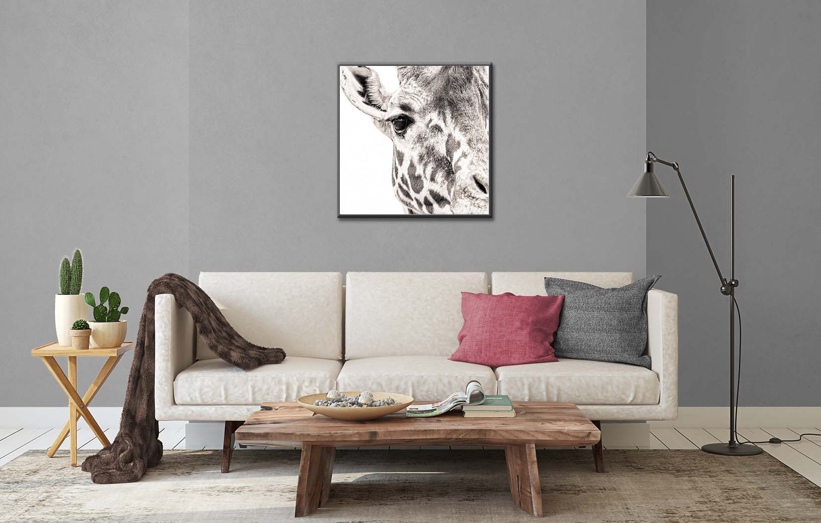 A black and white photograhic portraits of a giraffe. Limited edtion prints by fine art photographer Paul Coghlin.