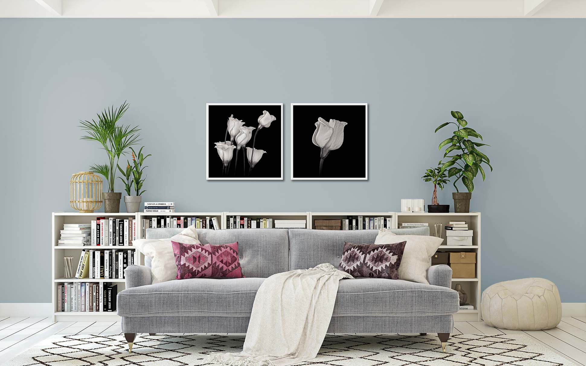 Two limited edition prints of white campanula by fine art photographer Paul Coghlin.
