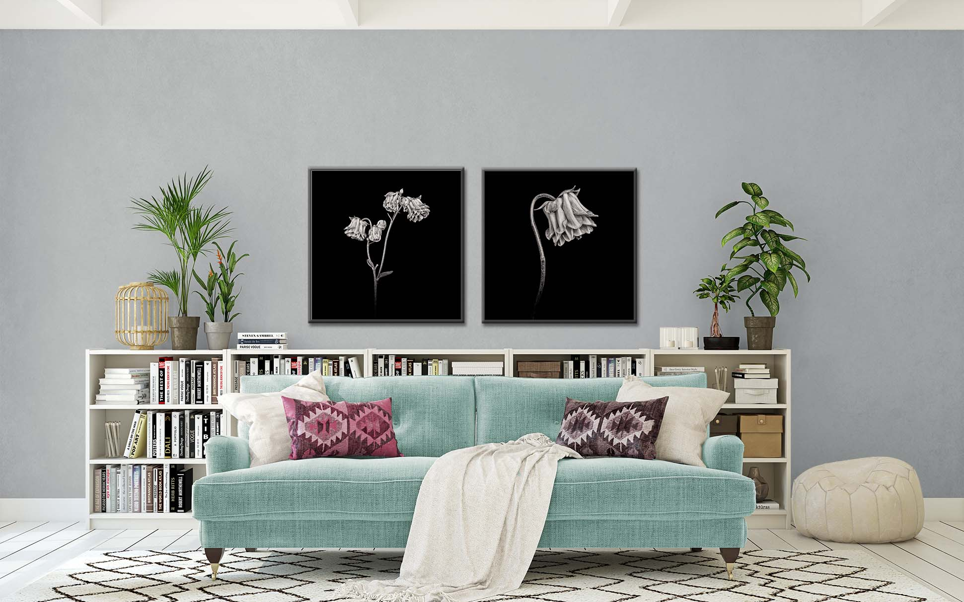 Two black and white, limited edition prints of pink columbine by fine art photographer Paul Coghlin.