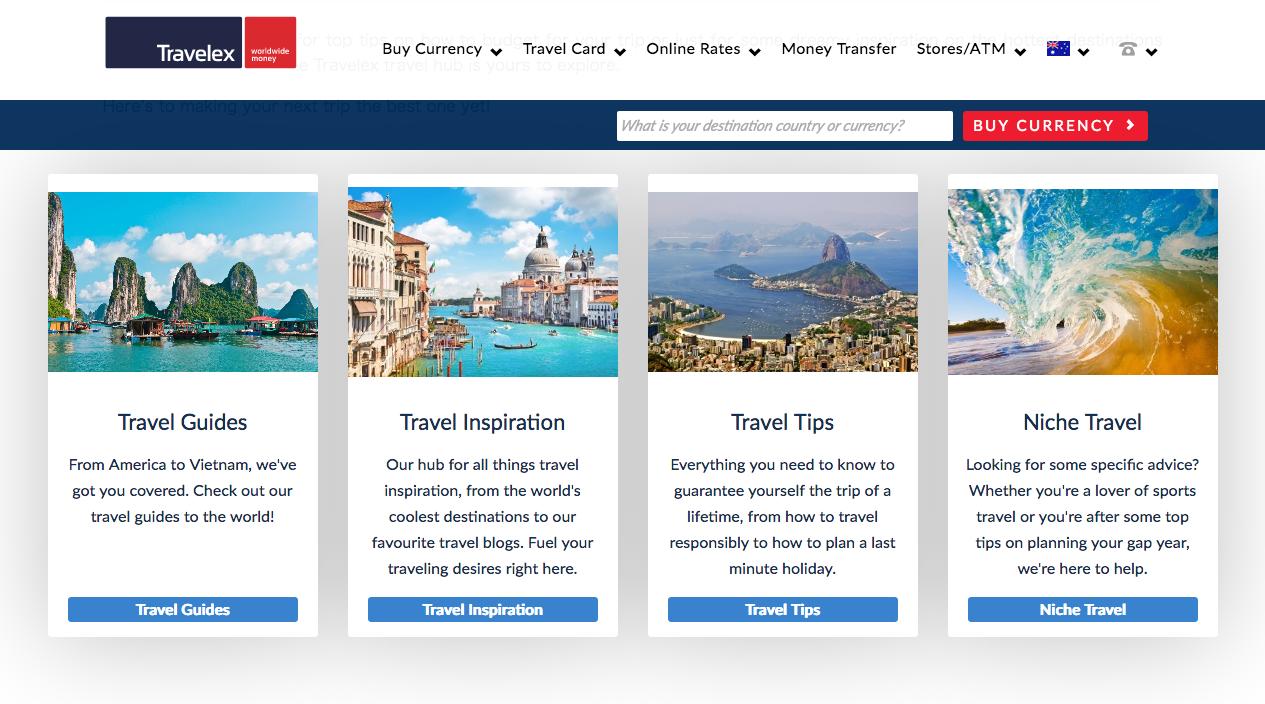 Travelex Travel Hub SEO Content