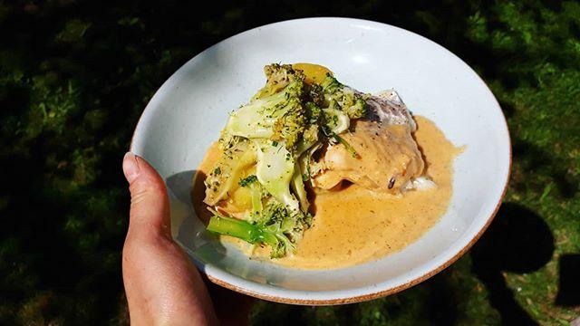 Dagens tips i sommarvärmen är en ugnsbakad kolja med skaldjurssås, syrlig broccoli och potatis 😍👌 95 kr och det är ditt ikväll! Välkommen! #dagenstips #lindhagen #bistrobystockholmfood