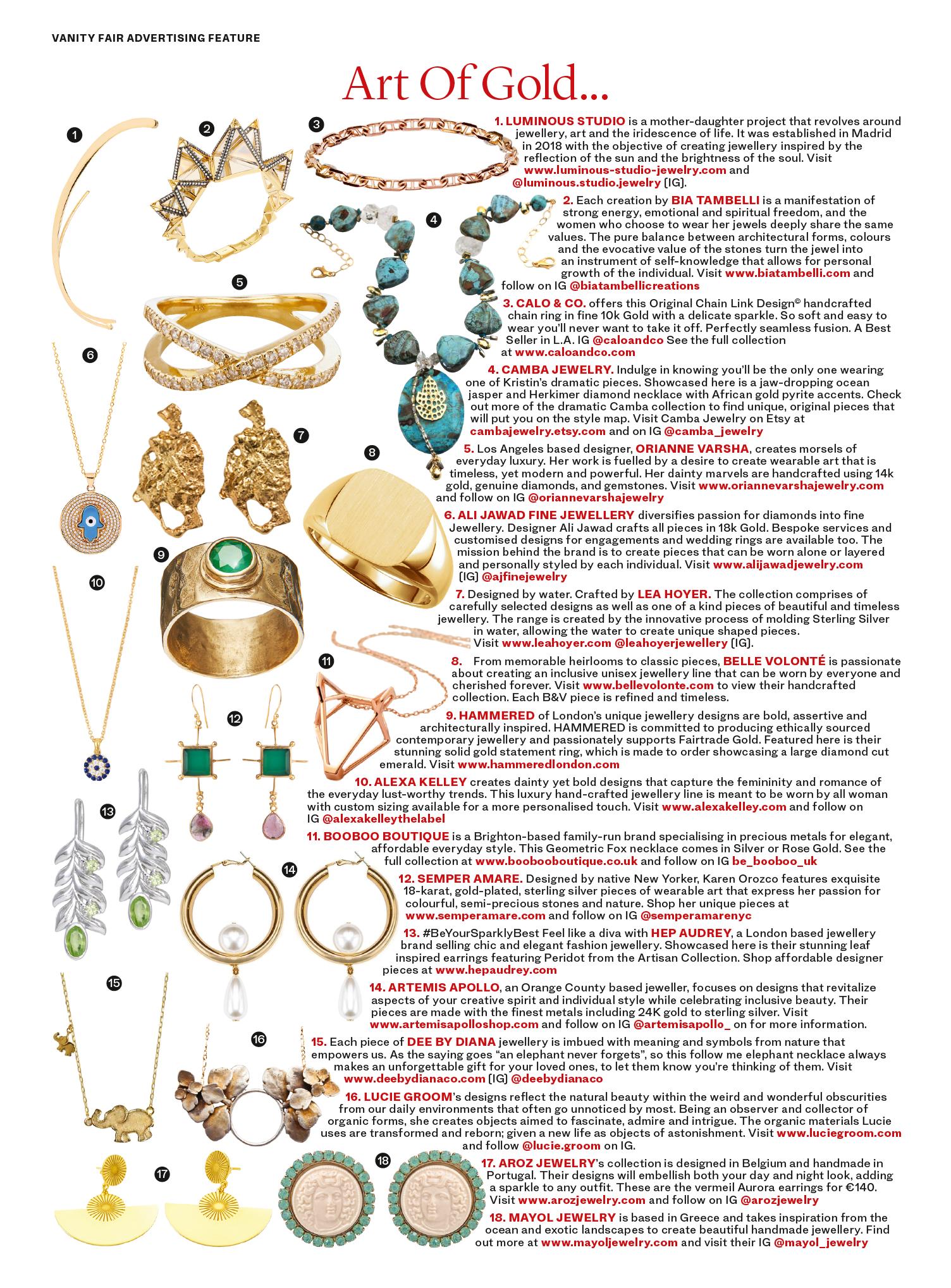 As seen in Vanity Fair // April 2019 // The Art of Gold
