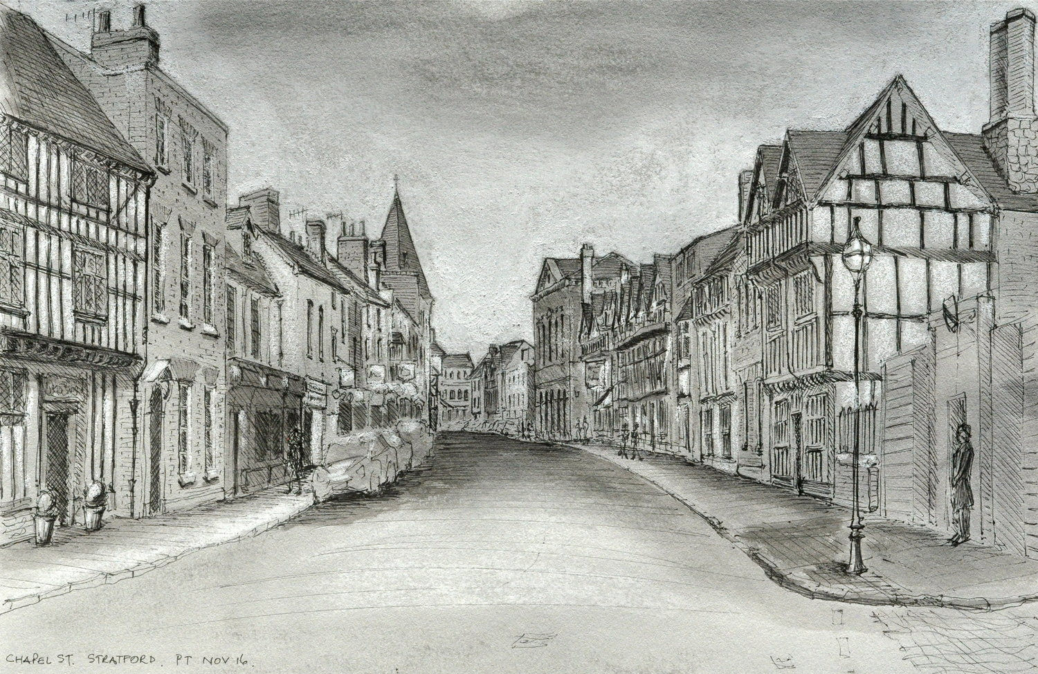 Chapel Street, Stratford-upon-Avon - Pen and ink with ink wash and chalk on Dreadnought Grey paper, 2016