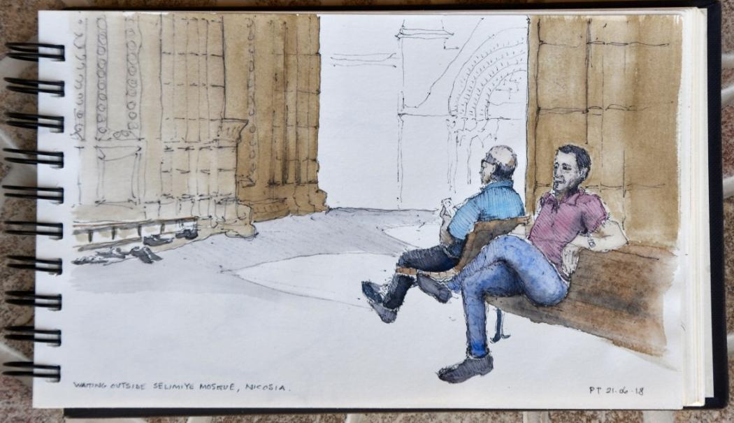Waiting outside Selimiye Mosque, Nicosia