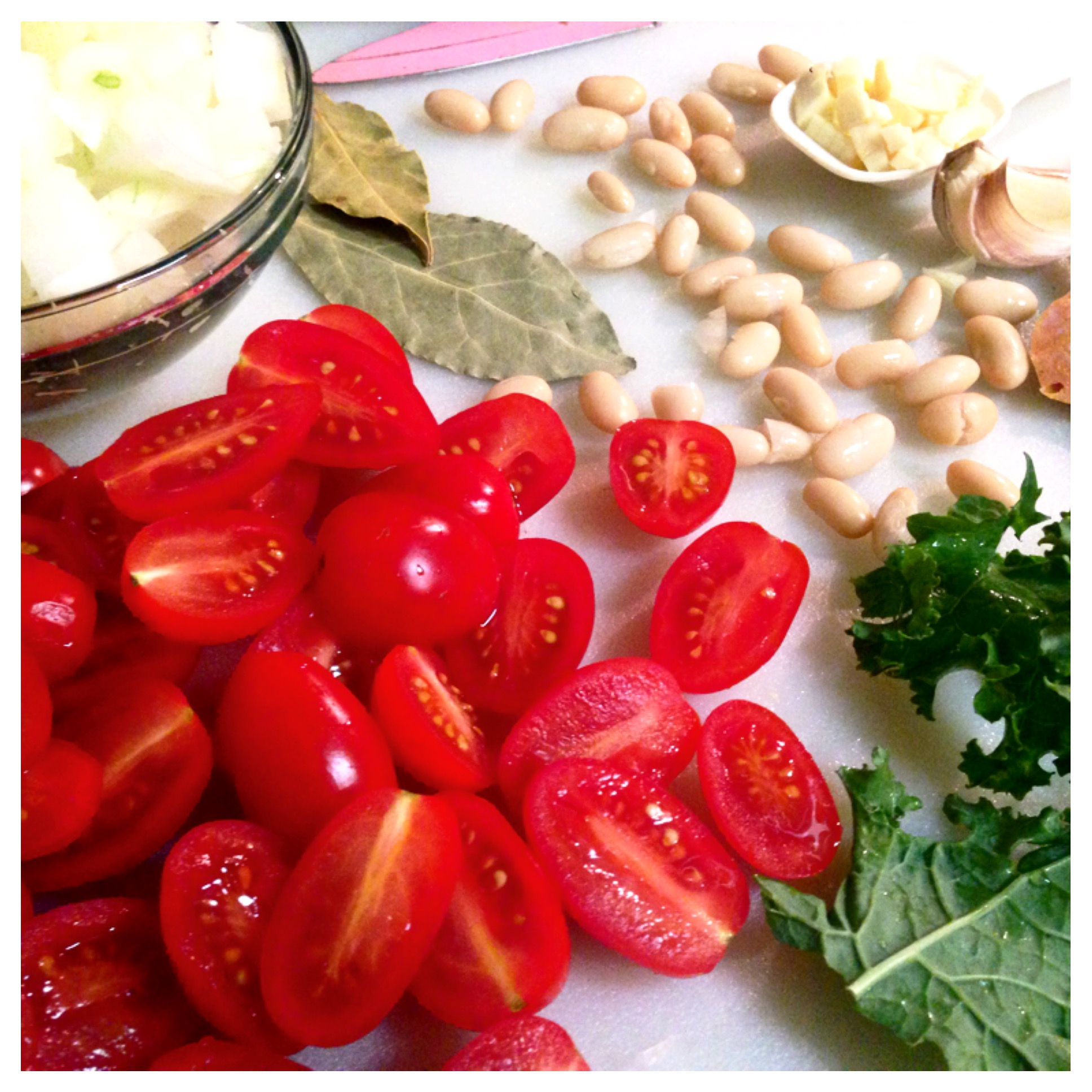 Tomatoes kale, beans onion.JPG