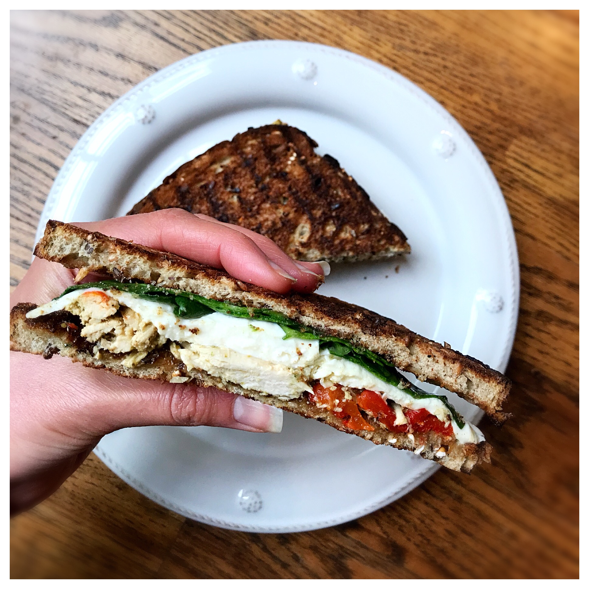 Something as easy as a sandwich can get you the protein you need. I love my Red Pepper Pesto Chicken Salad and this   grilled panini   that it creates!