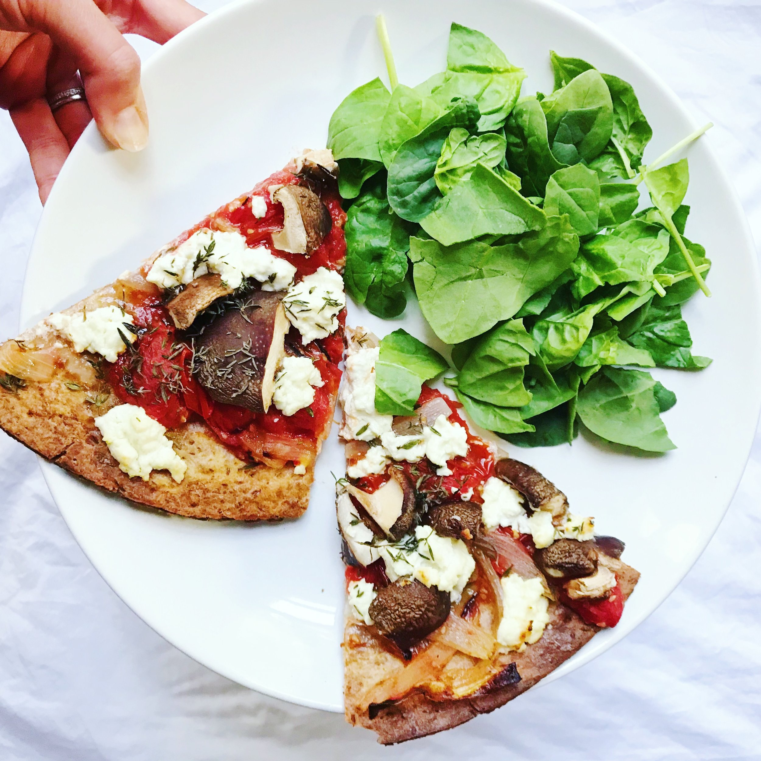 Goat Cheese & Thyme Pizza -