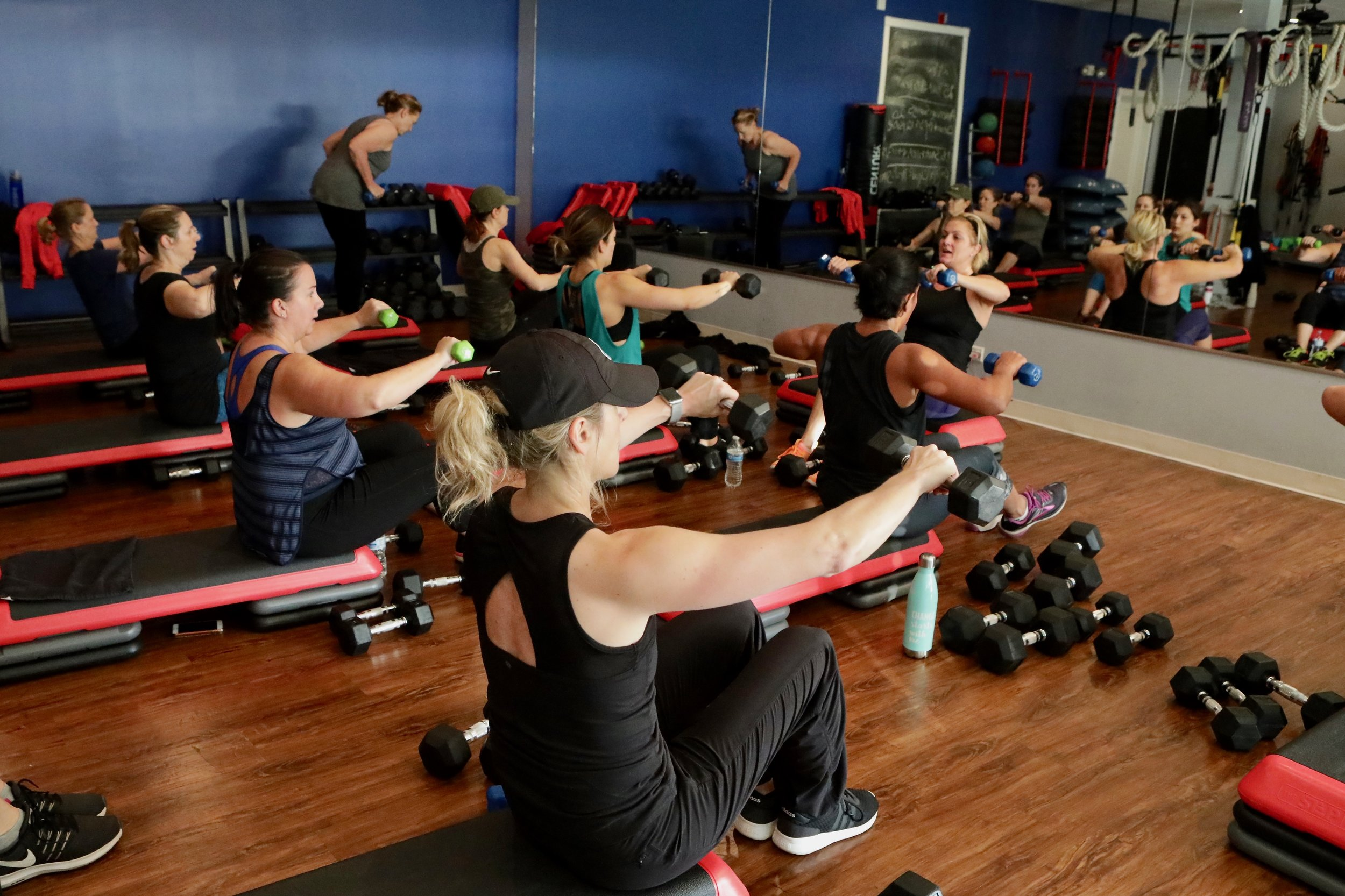 Nicole jumps in to a class for a quick workout and break!