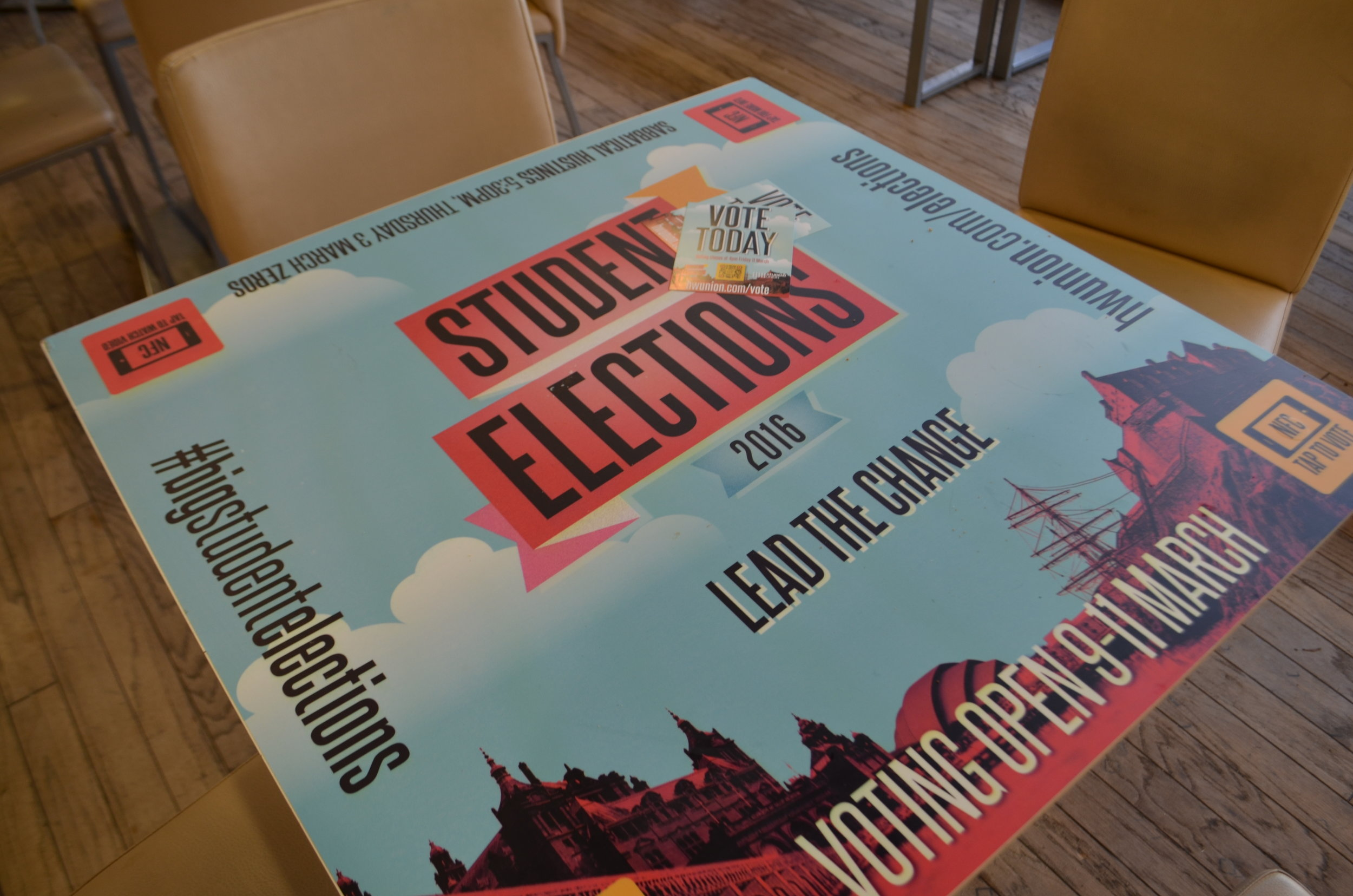 Table Vinyls - Unique and eye-catching, our table vinyls are perfect for putting your message directly in front of your student audience.Using a temporary adhesive material our vinyls leave no residue or damage to the surface below.