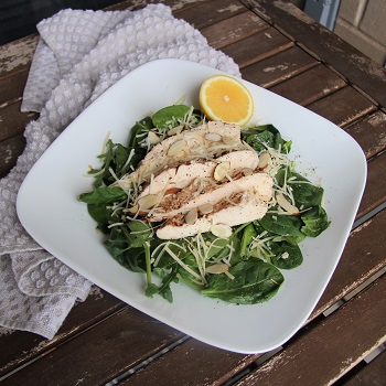 On a  simple salad with lemon and parmesan