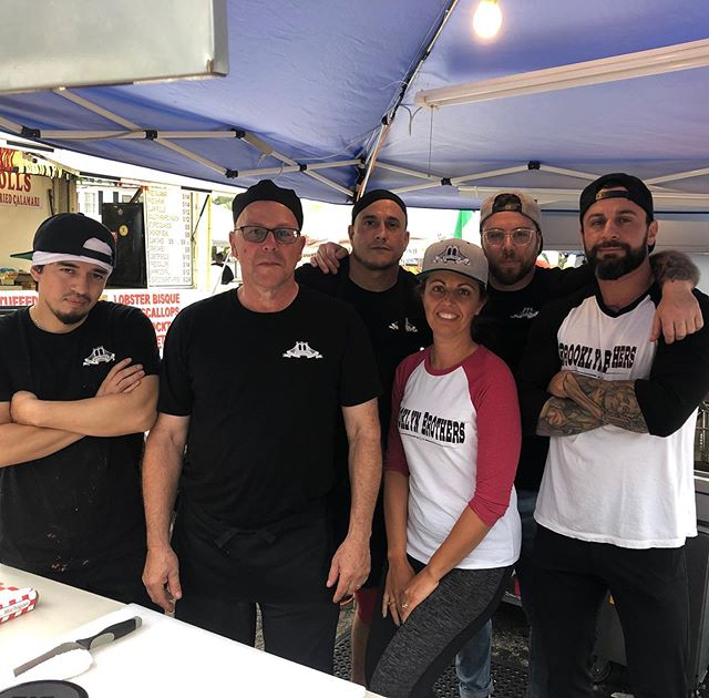 Full crew tonight at #stmarysfeast come aaaand get it! We'll be rocking the best chicken cutlet sandwiches all night. Tomorrow open at 5 pm.  #brooklynbrothersri #pinkpanther #cranston #rhodeisland #eatlocal #sandwiches #streetfood