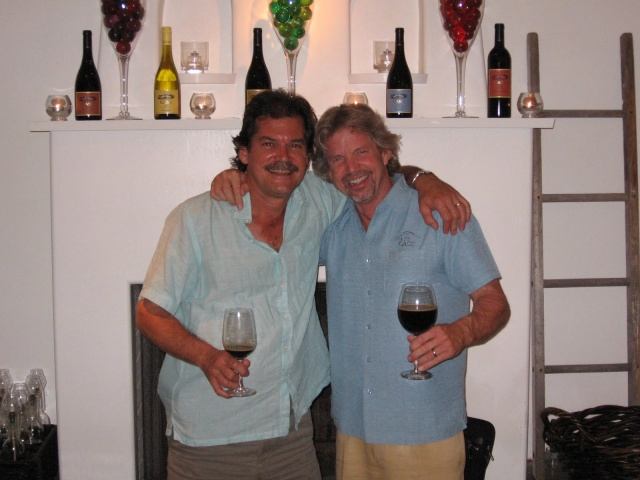 Chris and Ted Plemons (right) of Cass Winery share a laugh at the end of a winemaker dinner