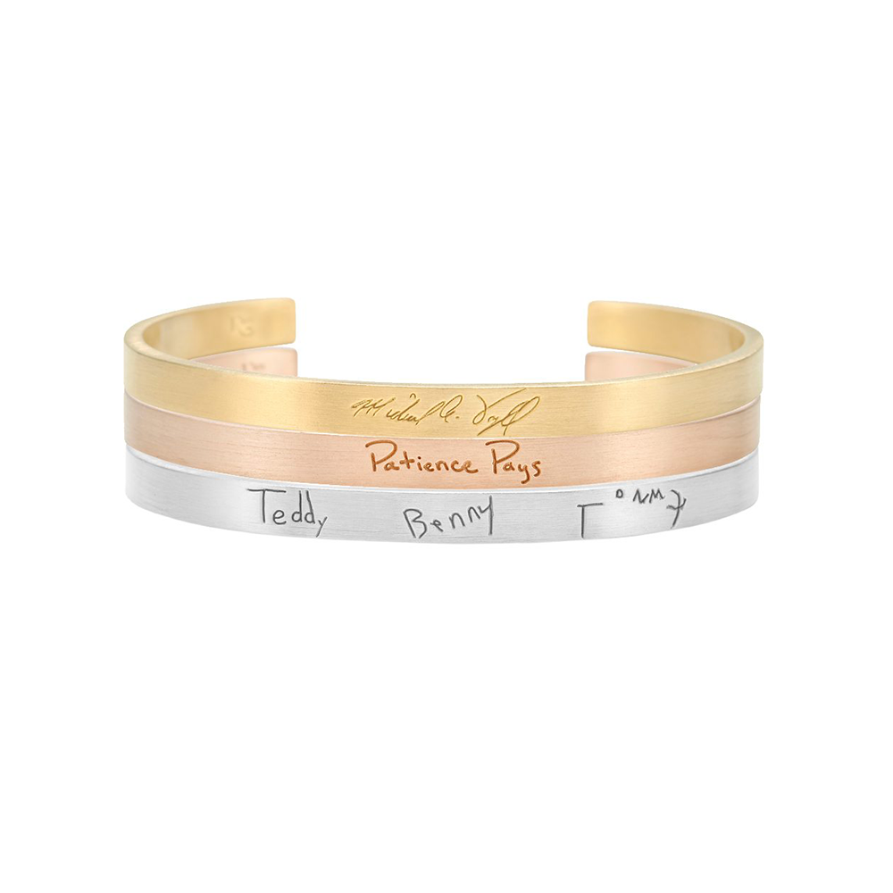 Graffiti Bracelet - K Kane, Starting at $355Designed to be customized with any words, in any handwriting, the graffiti bracelet is the perfect way to send a message. Whether you engrave a handwritten note from a loved one who has passed away, a family member's signature, or an inspirational phrase, this piece will be treasured for years to come.