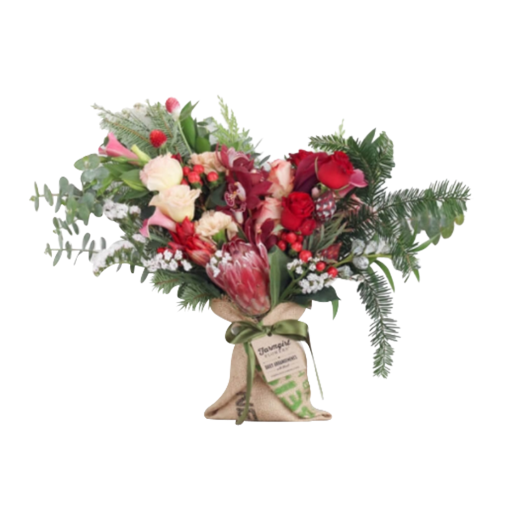 The Just Right Burlap Wrapped Bouquet - Farmgirl Flowers, $69.00/month