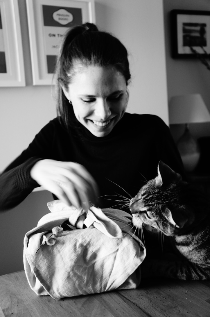 Sarah, Founder of FOLDS (and George the cat)