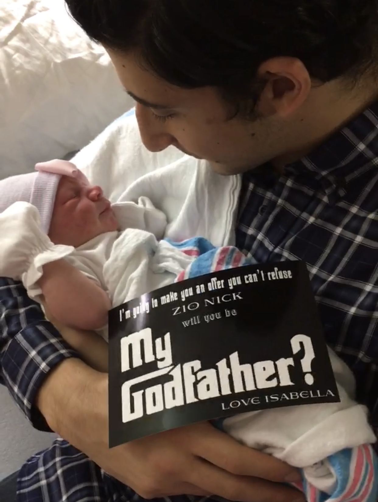 We asked my brother to be the Godfather. He was so happy, emotional, and so in love with Bella. He's the best Godfather!