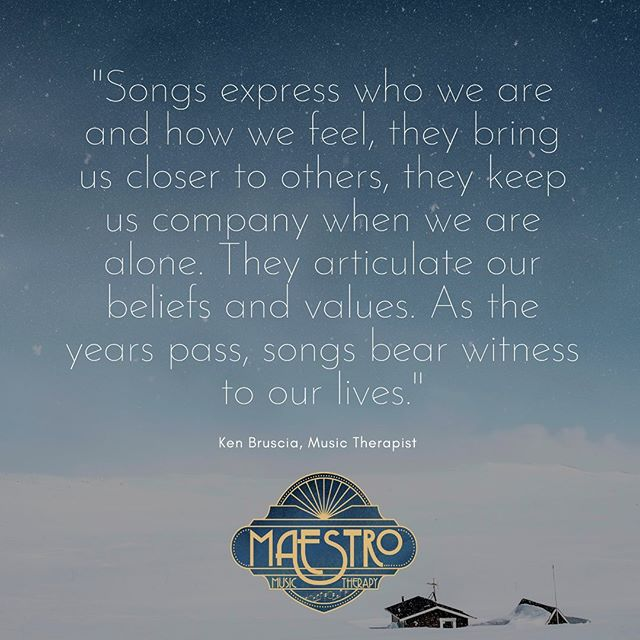 Songs express who we are and how we feel. . . . #musictherapy #musictherapist #music #therapy #bruscia #maestromusictherapy #songs #songwriting #selfexpression