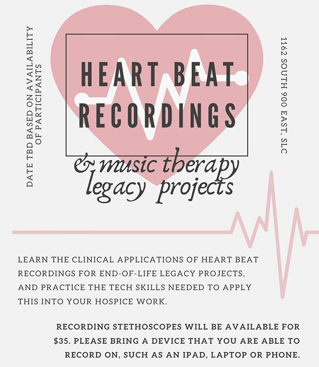 If you're a Hospice MT here in Utah and would like to join for this inservice, please send me a message! We still have a few spots open. Or, if you can't make it but would like a stethoscope mic, I'd be happy to help out! . . . #musictherapy #musictherapist #heartbeatrecording #legacyproject #heartbeat #endoflife #hospiceandpalliativecare #hospice #utahmusictherapy