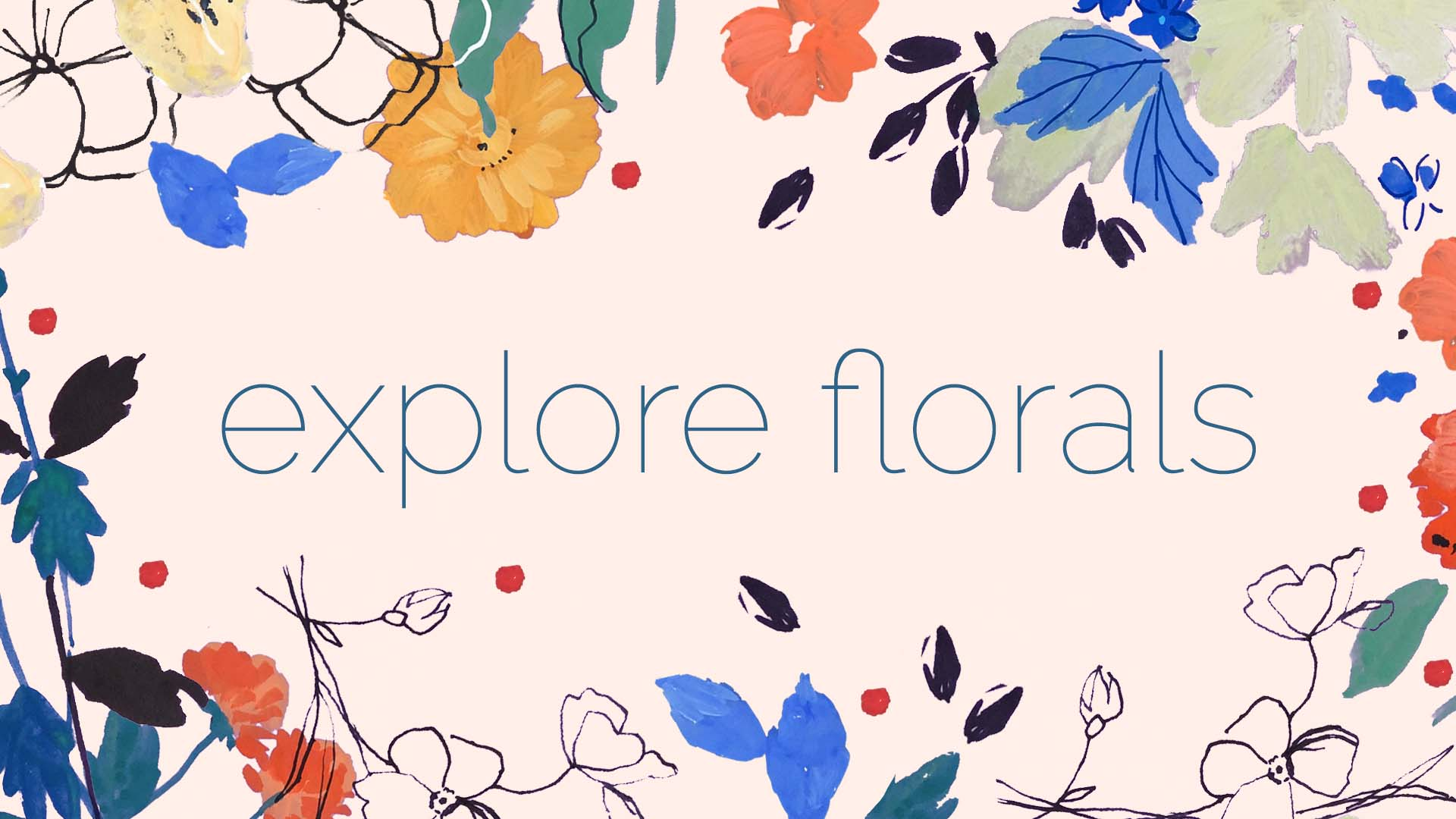 Explore Florals - Registration now closed - Course starting Mon, Jan 28th, 2019A three week, online course about floral art. You'll learn about this important commercial theme, experiment with styles and techniques, expand your repertoire, and create floral art in a way that's new and exciting to you. Each week you'll receive a detailed and informative written design brief, a beautiful mood-board full of inspiring imagery, and a unique, commercial colour palette.