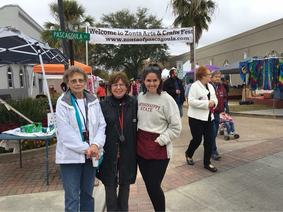 Three generations of Zonta Pascagoula! From left to right: Judy Williamson, Teresa Williamson, and Carpenter Marsalis.
