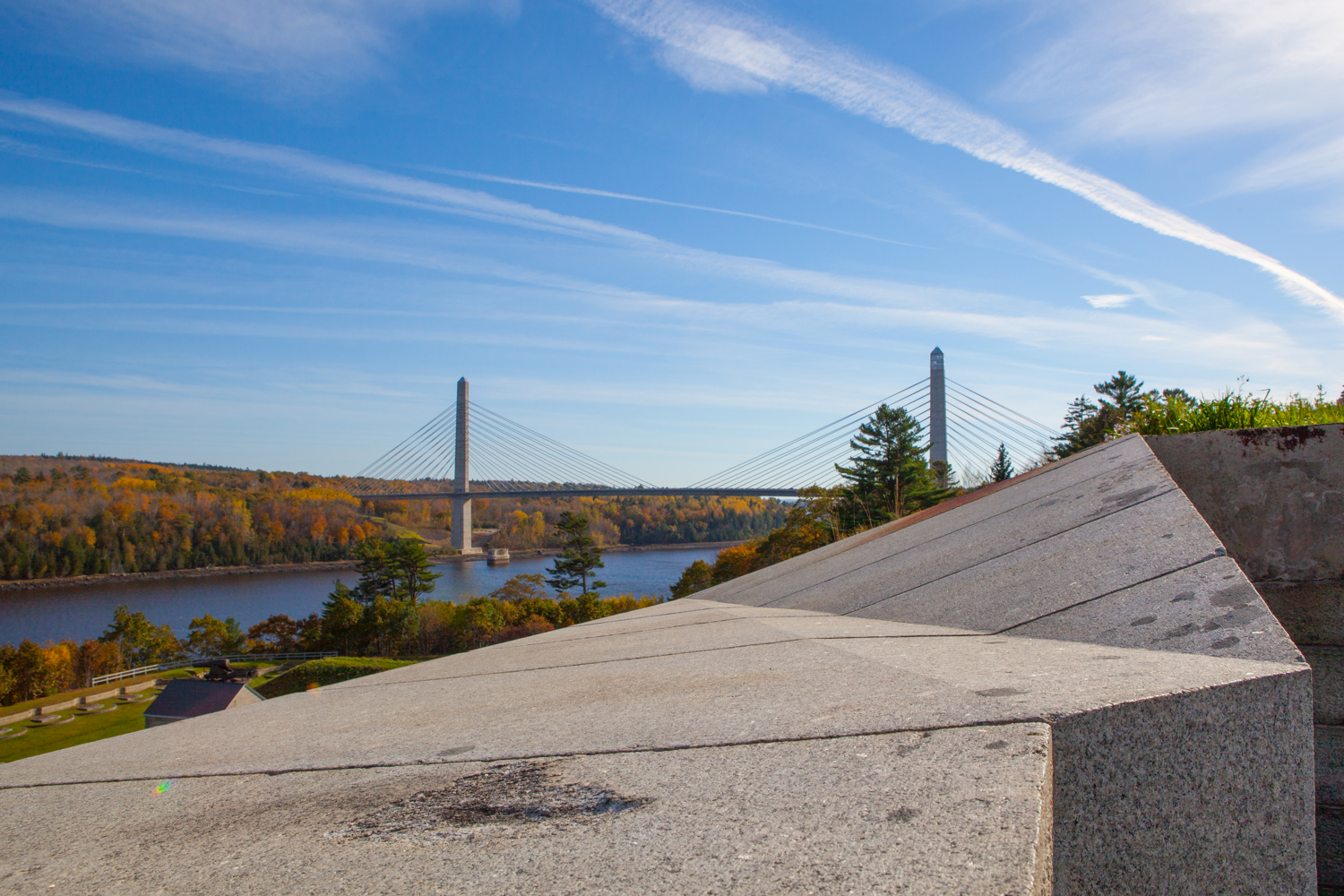 View of Penobscot Narrows Bridge and Observatory from Fort Knox.