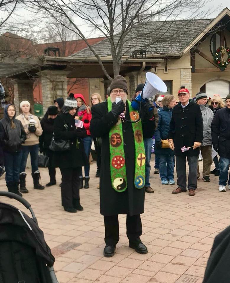 Offering the blessing for the Interfaith Walk, Naperville 2018