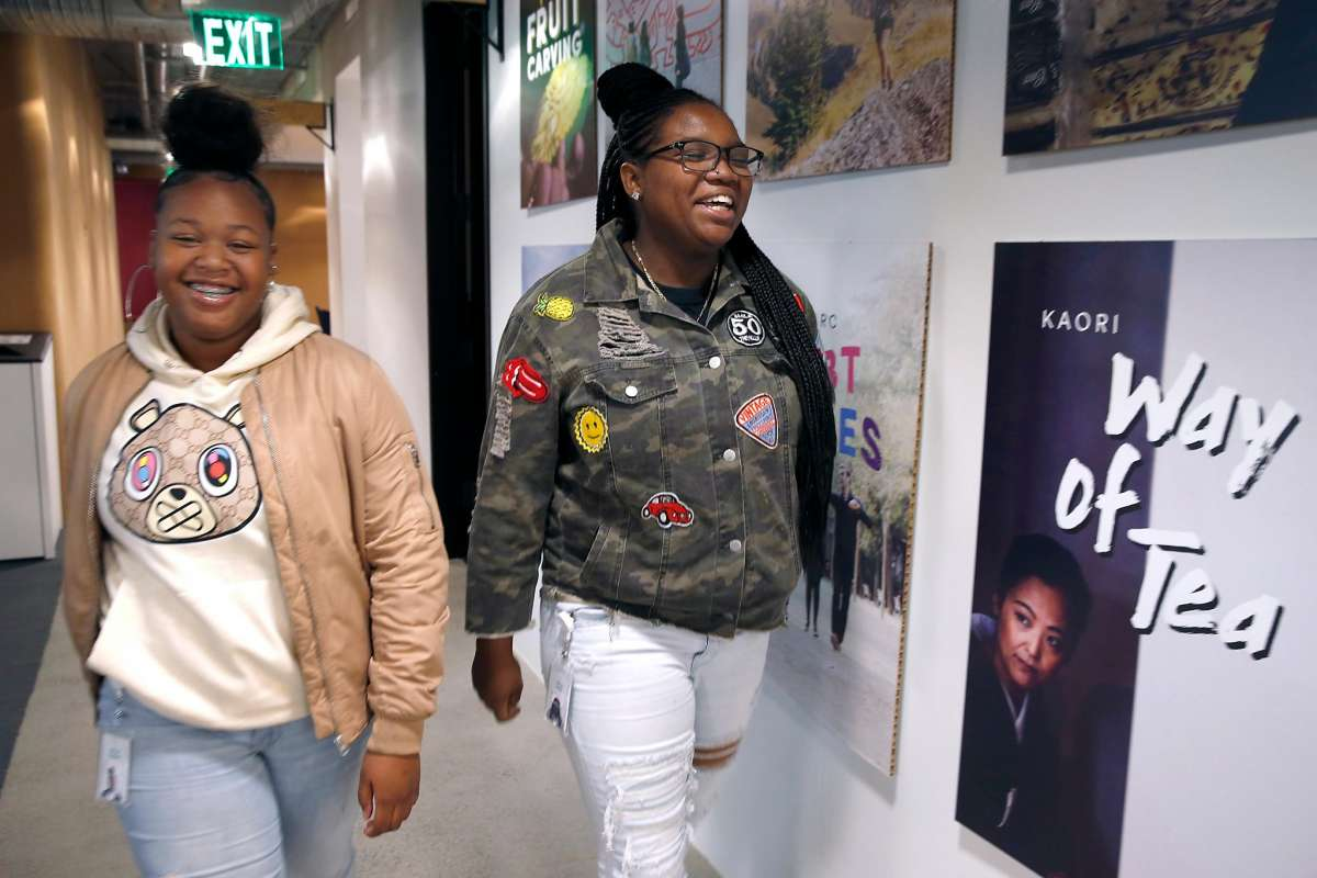 """Kaylani Kelley (left) and Jaida Clark have Airbnb summer jobs in the city's """"Opportunities for All"""" program.  PHOTO BY Paul Chinn / The Chronicle"""