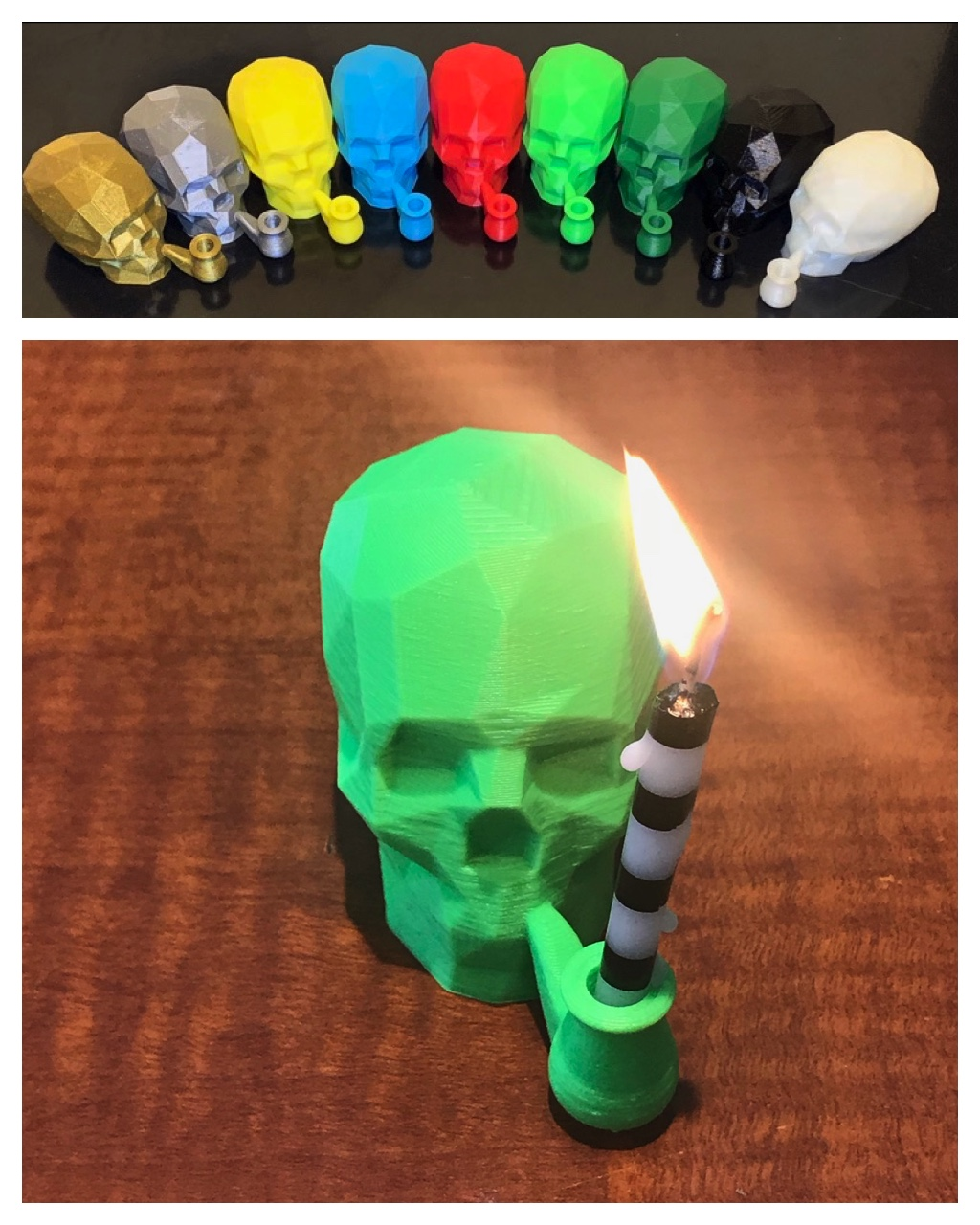 "Low-Poly ""Smoking"" Skull Candle Holder - ThingiverseMade in 2018 asa birthday decoration /""fun memento mori"""