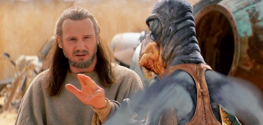Qui-Gon tries the Jedi Mind Trick on Watto