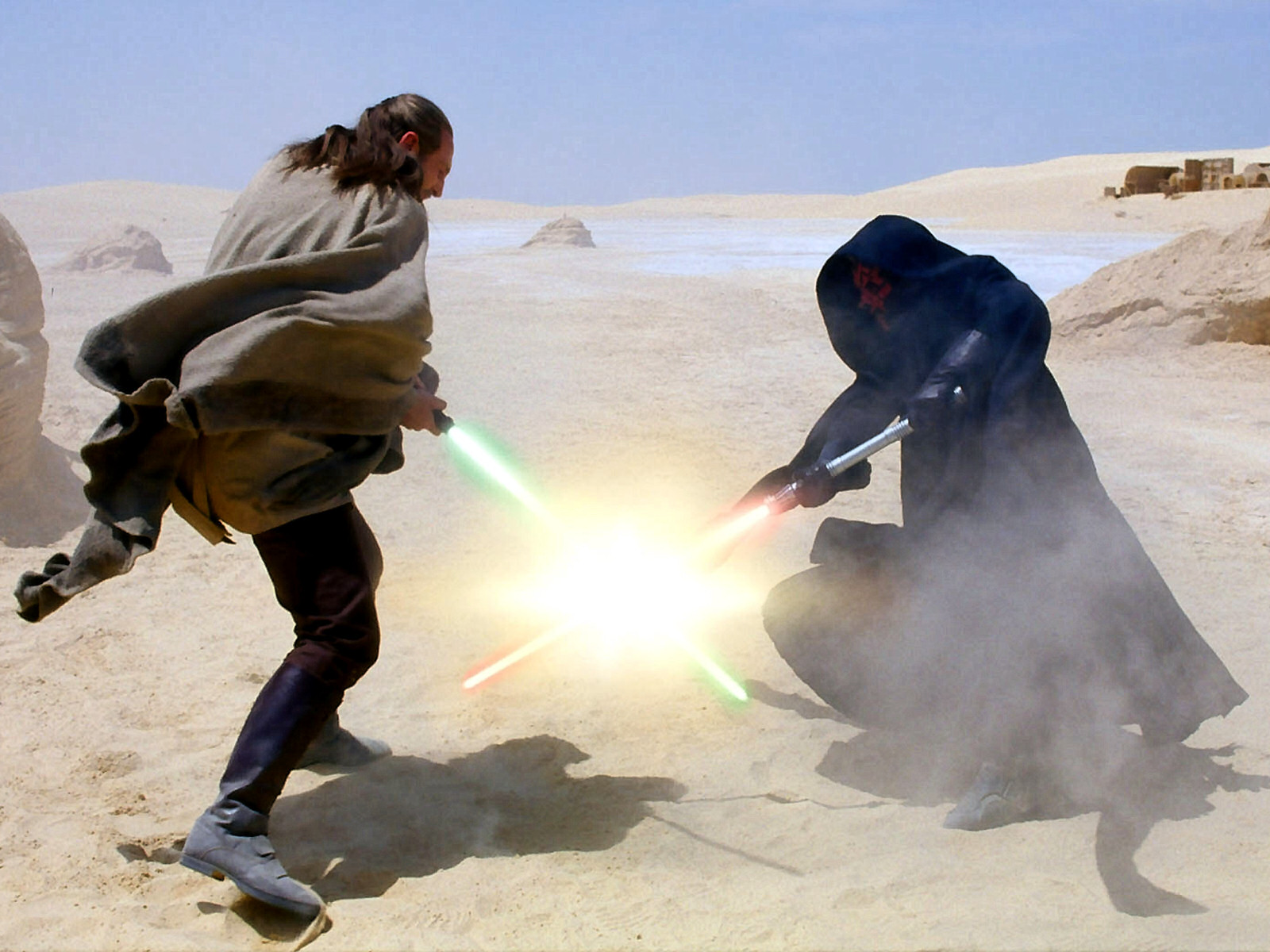 Darth Maul surprises Qui-Gon Jinn on Tatooine