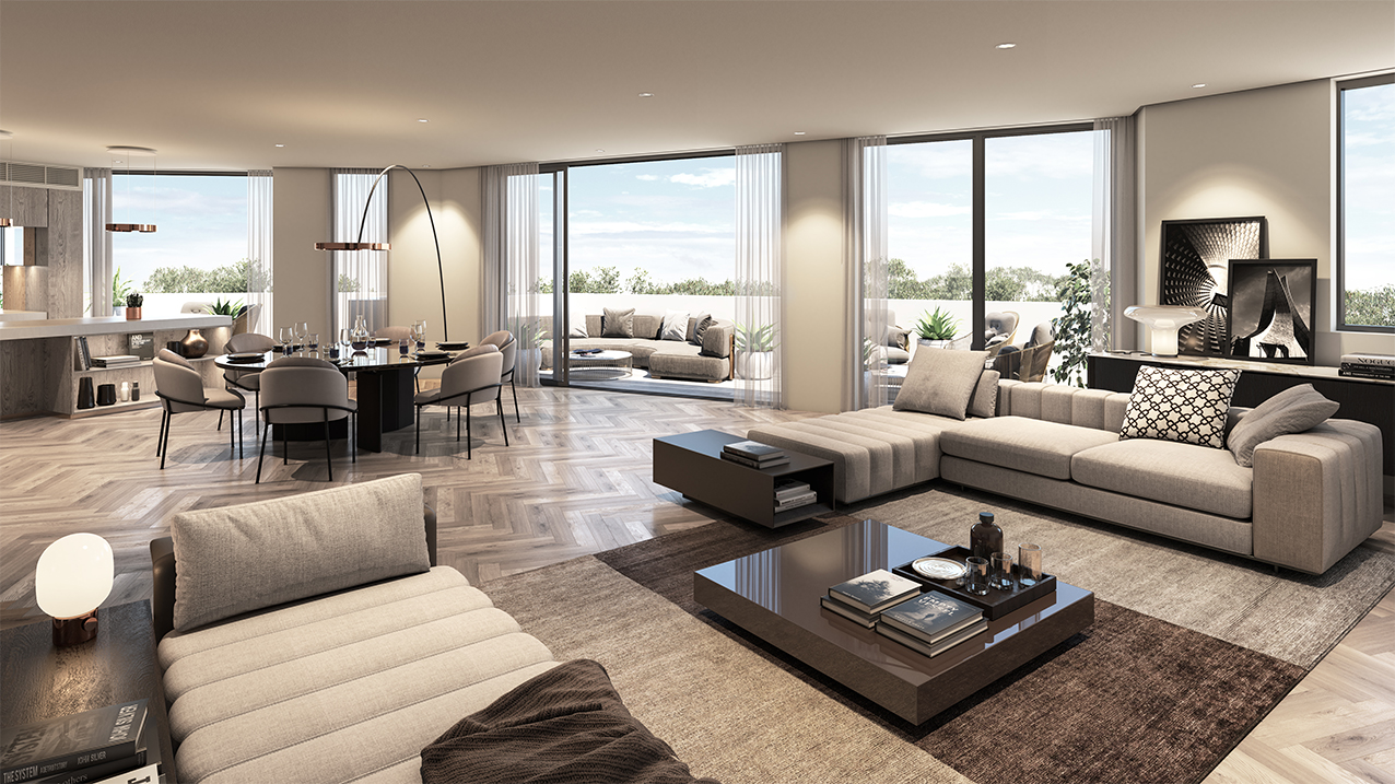 Living room 304 - Penthouse CGI