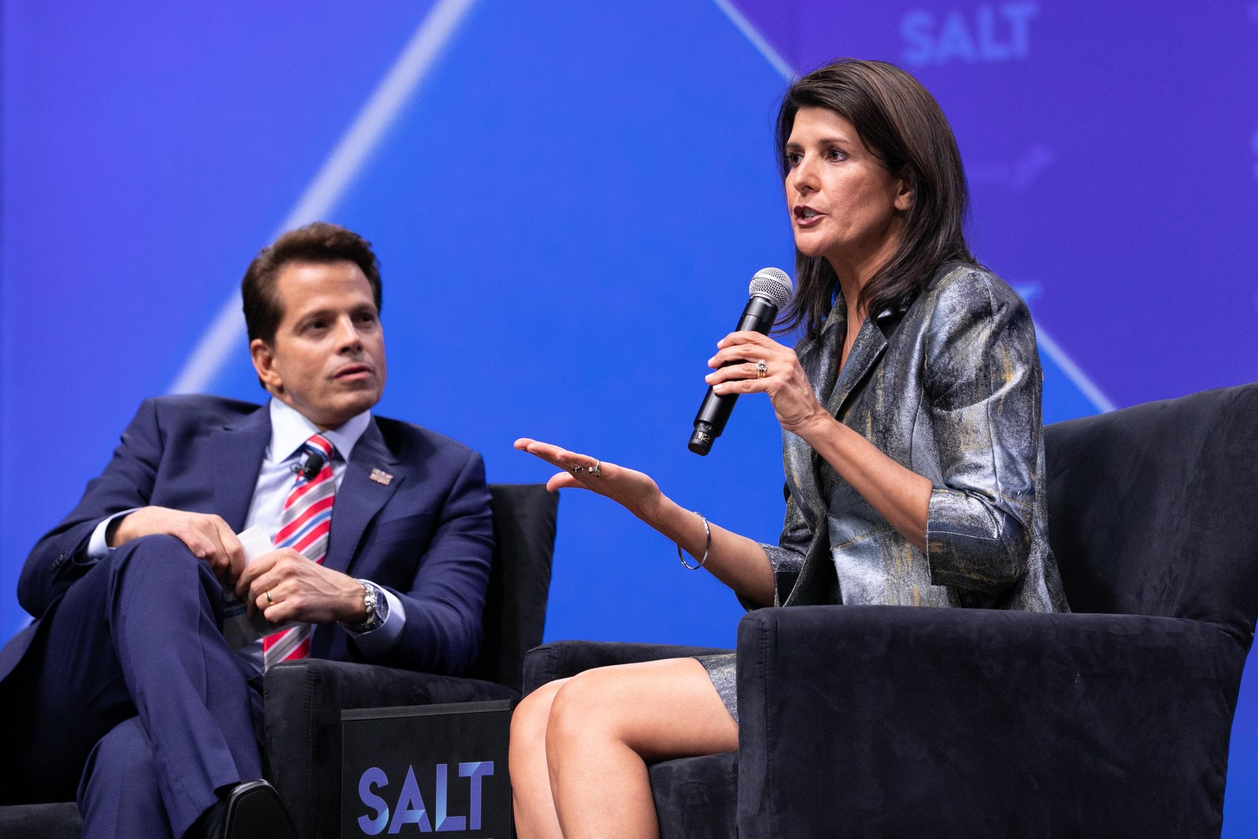 SALT 2019 - U.S. Ambassador to the United Nations (2017-2019) NIKKI HALEY with SkyBridge Founder & Co-Managing Partner ANTHONY SCARAMUCCI