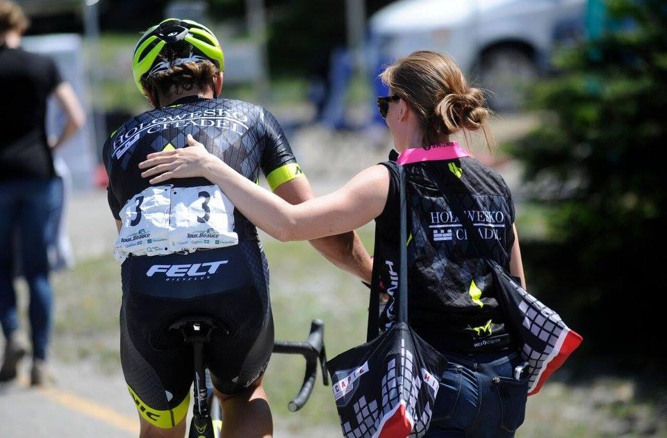 Guiding  Robin Carpenter , following a podium mountain top finish at Quebec's Tour de Beauce.